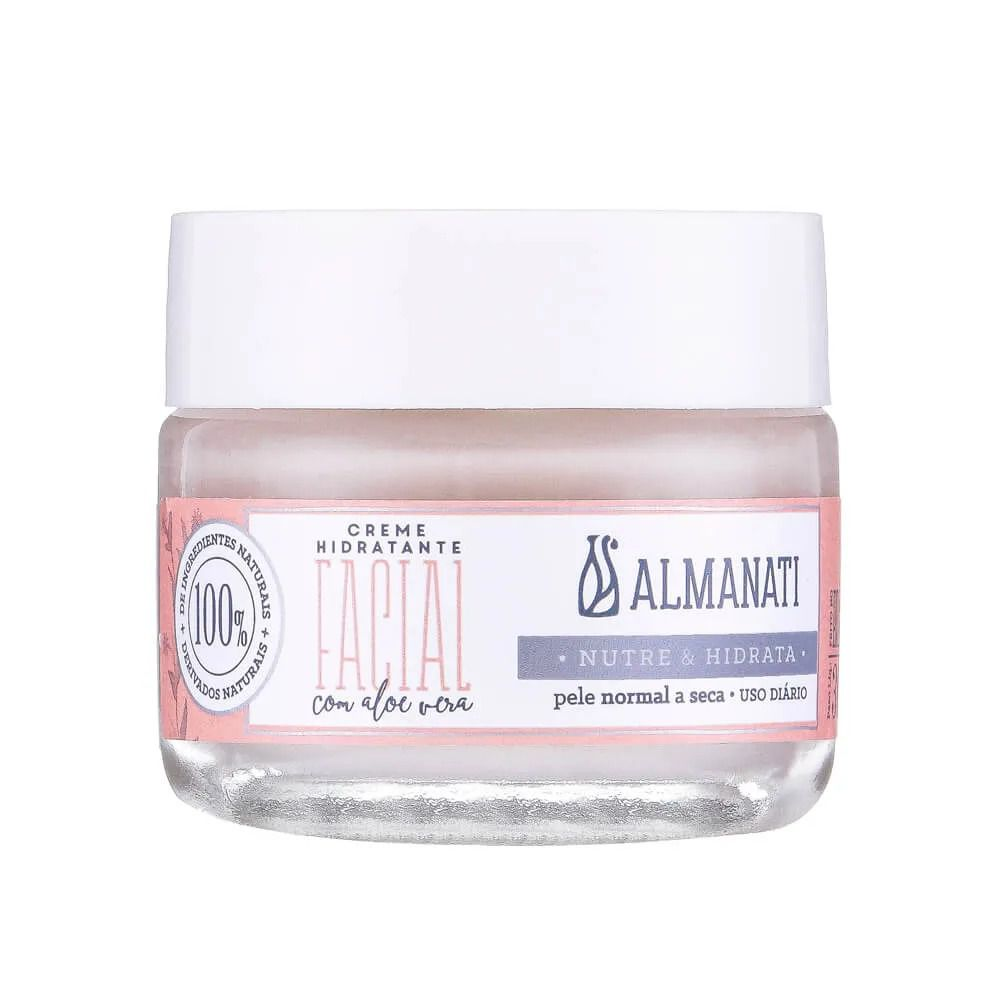 Creme Hidratante Facial Natural com Aloe Vera Almanati - 30g