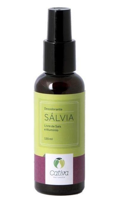 Desodorante Natural Vegano Orgânico de Sálvia Cativa Natureza Spray - 120ml