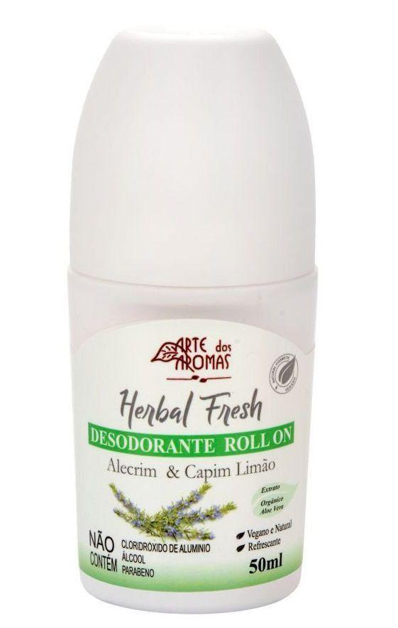 Desodorante Roll-on Herbal Fresh Alecrim e Capim Limão Arte dos Aromas - 50ml