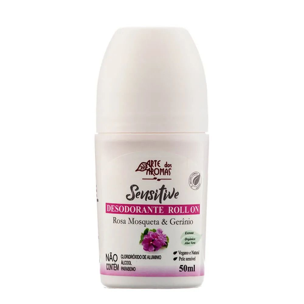 Desodorante Roll-on Sensitive Rosa Mosqueta e Gerânio Arte dos Aromas - 50ml