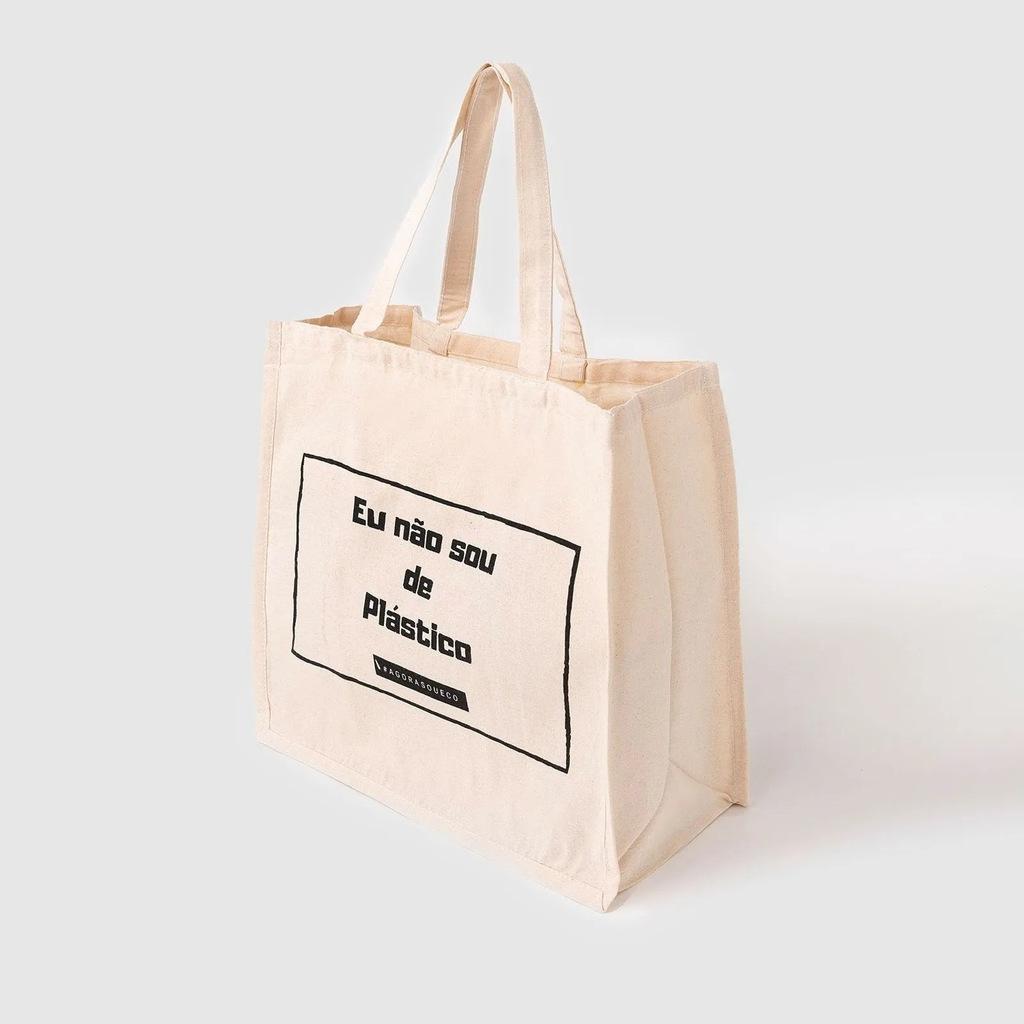 Ecobag Sacola 100% algodão cru Agora sou Eco - Grande