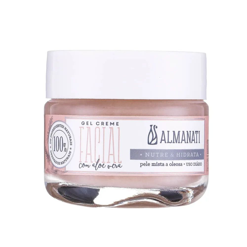 Gel Creme Facial Natural com Aloe Vera Almanati - 30g