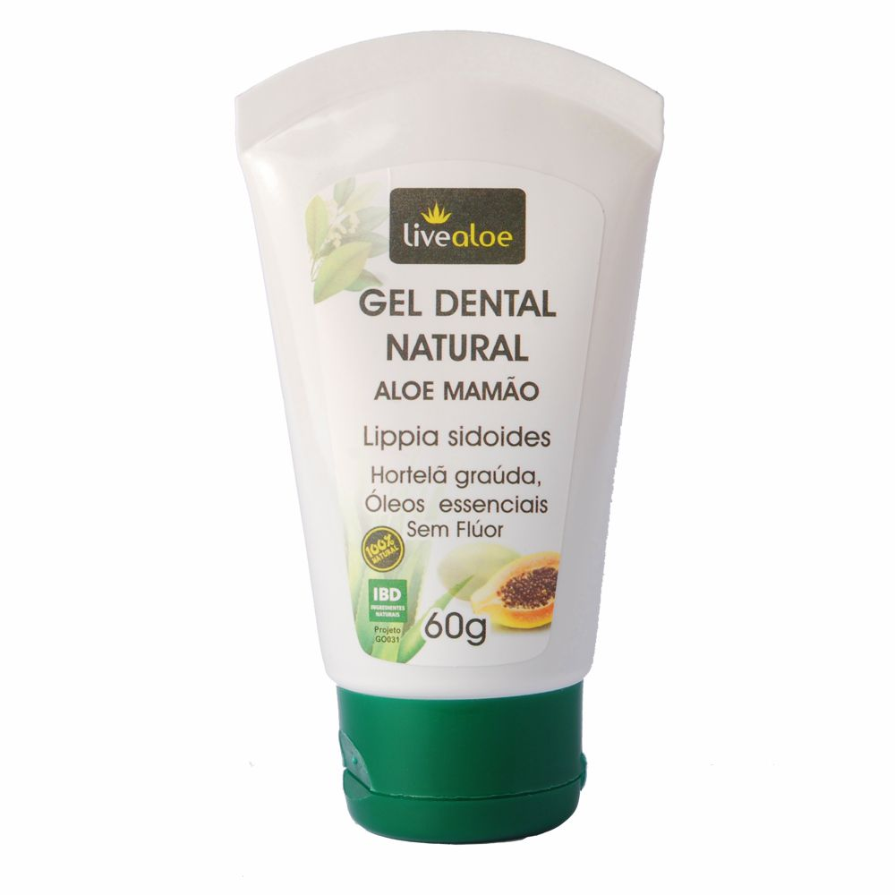 Gel Dental Natural Aloe Mamão Livealoe - 60g