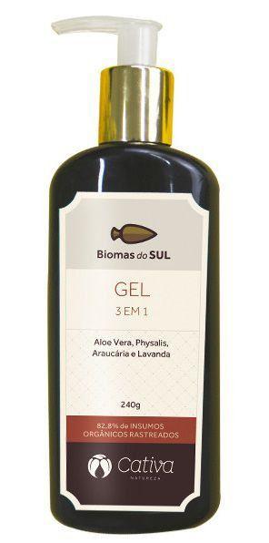 Gel Hidratante Natural Orgânico Vegano 3 em 1 Cativa Natureza Biomas do Sul - 240ml