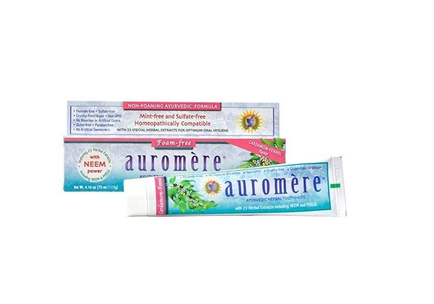 Kit 3 Pasta dental ayurvédica sem menta Auromère - cardamomo e erva-doce