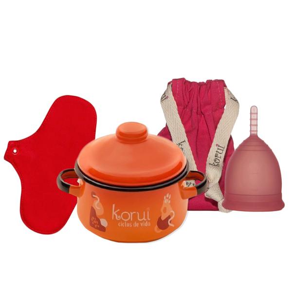 Kit Coletor Menstrual Korui, Panela Esterilizadora e Protetor diário