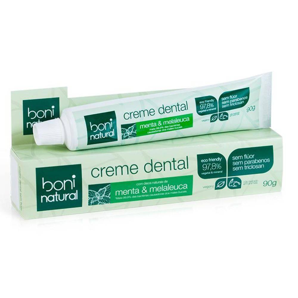 Kit 4 Creme Dental Sem Flúor Menta e Melaleuca Boni Natural