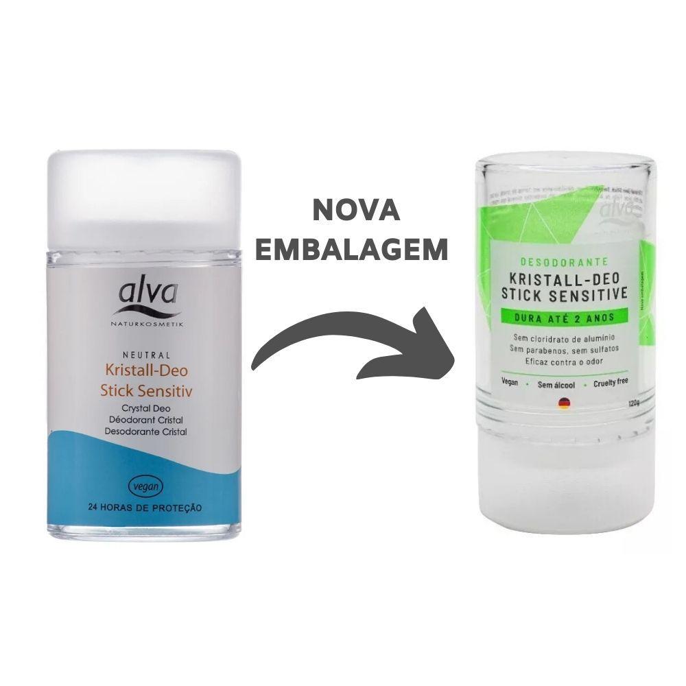 Kit Desodorante Alva Kristall Stick 120g e 60g