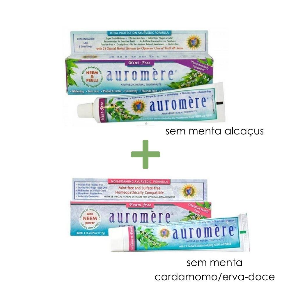 Kit Pasta Dental Ayurvédica Auromère Sem Menta - Alcaçus e Cardamomo/Erva-doce