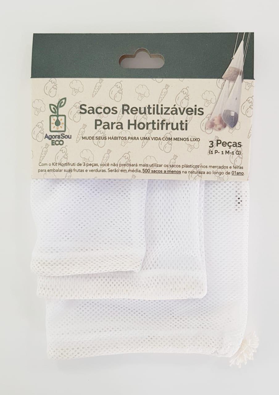 Kit Saco Reutilizável Hortifruti Agora Sou Eco - 3 unidades