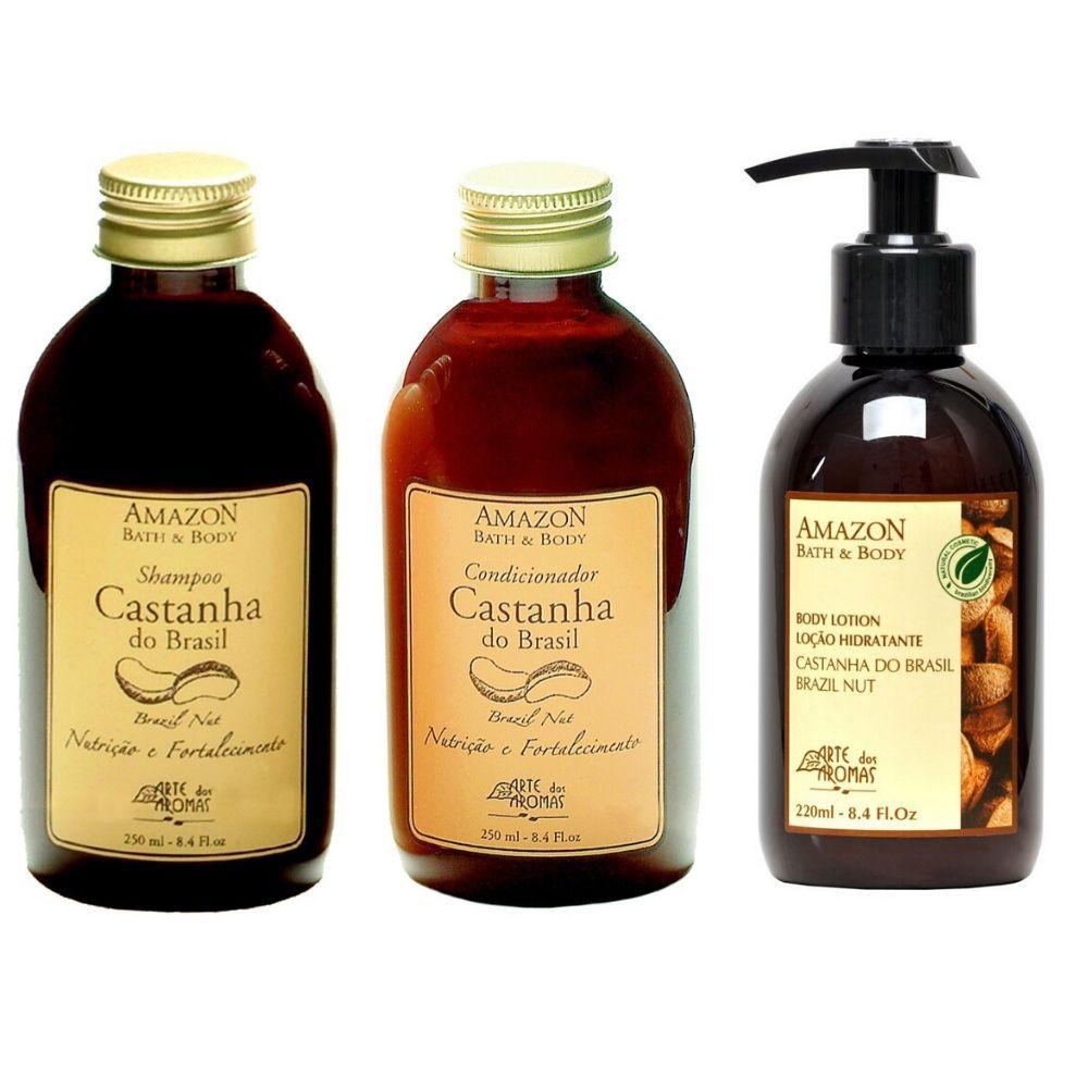 KIT SENTIDOS - Kit de Castanha Arte dos Aromas - cabelos e peles ressecadas