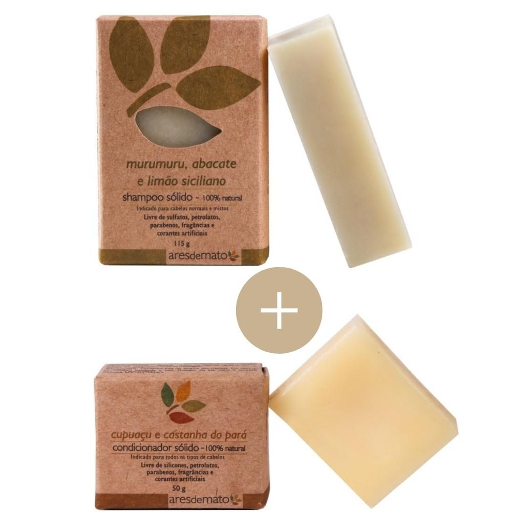 Kit shampoo e condicionador em barra Ares de Mato - cabelos normais e mistos