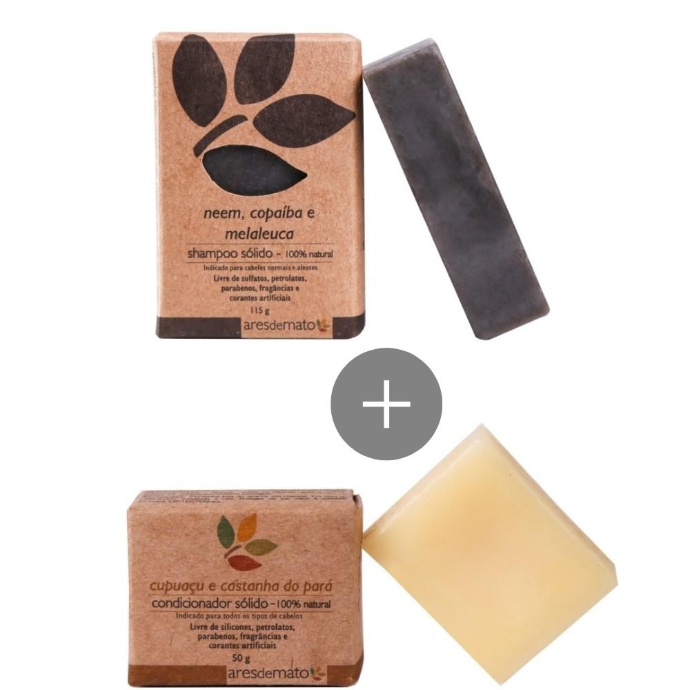 Kit shampoo e condicionador em barra Ares de Mato - cabelos normais e oleosos