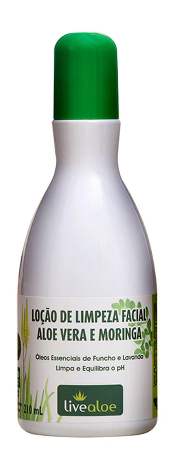 Loção de Limpeza Facial Aloe e Moringa Livealoe - 210ml