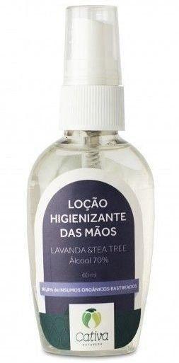 Loção Higienizante Álcool 70% Natural Vegana Orgânica Cativa Natureza Lavanda e Tea Tree - 60ml
