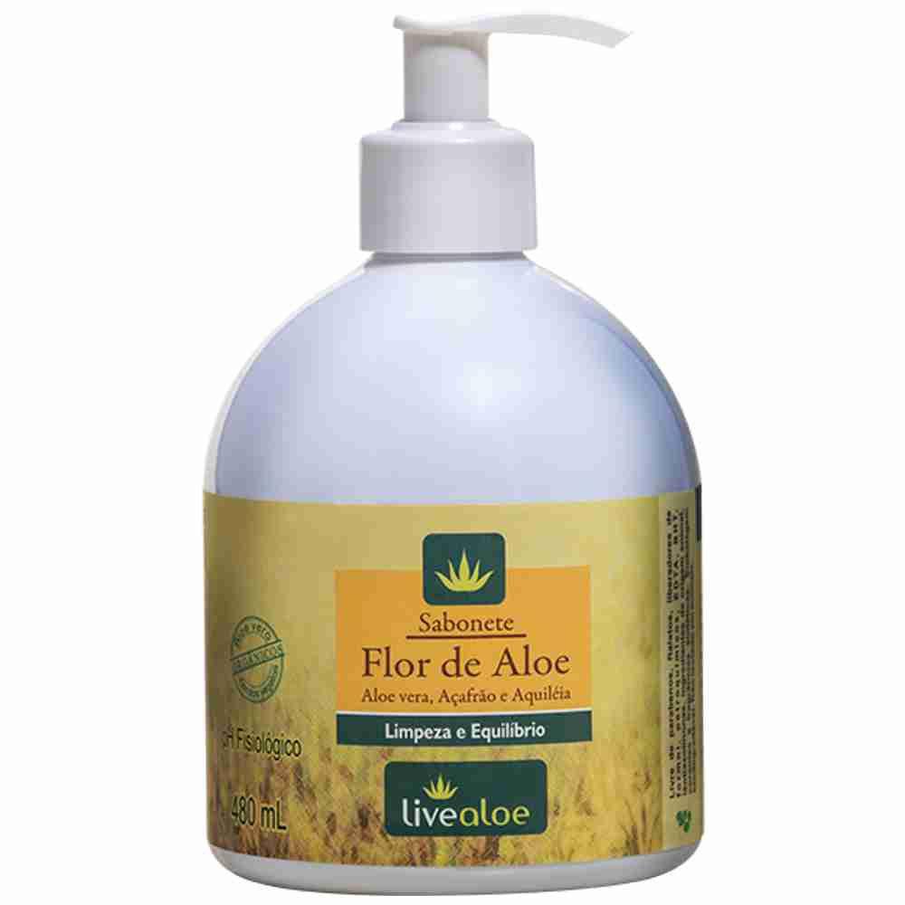 Sabonete Flor de Aloe Natural Vegano Livealoe - 480ml
