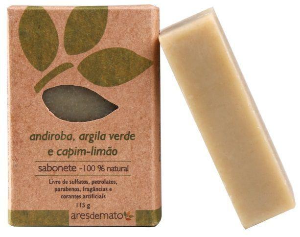 Sabonete Natural Artesanal Vegano Ares de Mato 115g - Andiroba, Argila verde e Capim limão