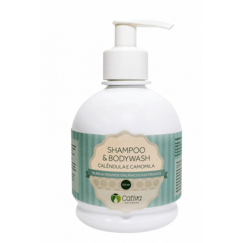 Shampoo e Body Wash Calêndula e Camomila Cativa Natureza - 315ml