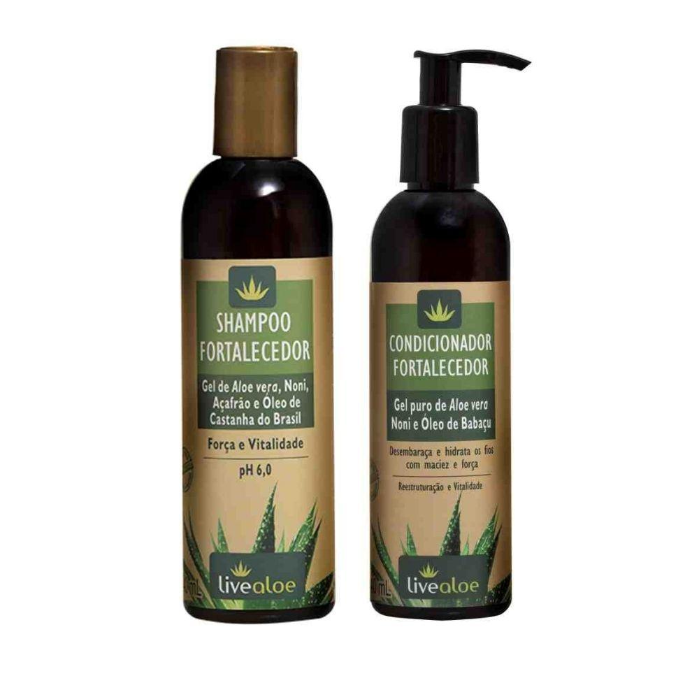 Shampoo e Condicionador Fortalecedor com Aloe Vera Livealoe