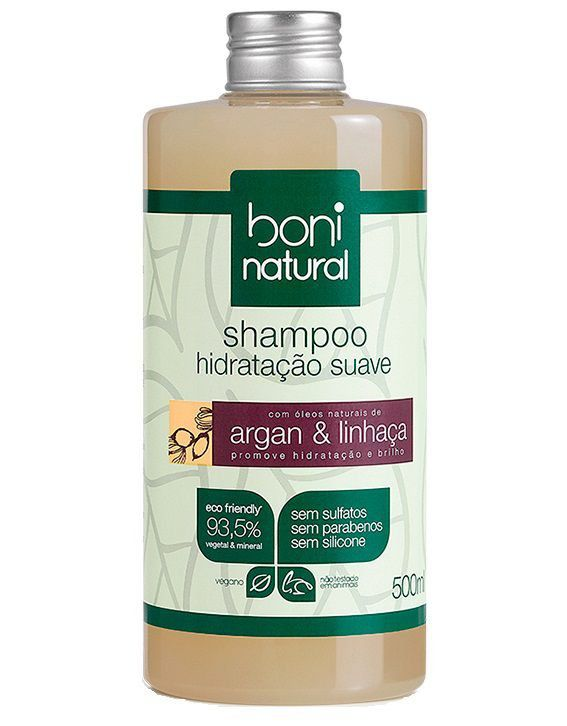Shampoo Hidratação Suave Argan e Linhaça Boni Natural - 500ml