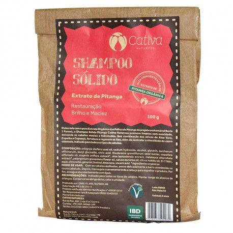 Shampoo Sólido de Pitanga Natural Orgânico Vegano Cativa Natureza - 100g