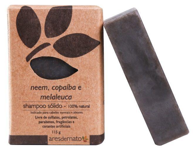 Shampoo Sólido Natural Vegano de Neem Ares de Mato 115g - Cabelos normais e oleosos