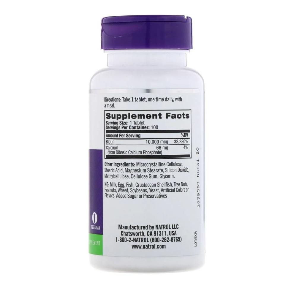 Biotina 10.000 mcg - 100 caps - Natrol