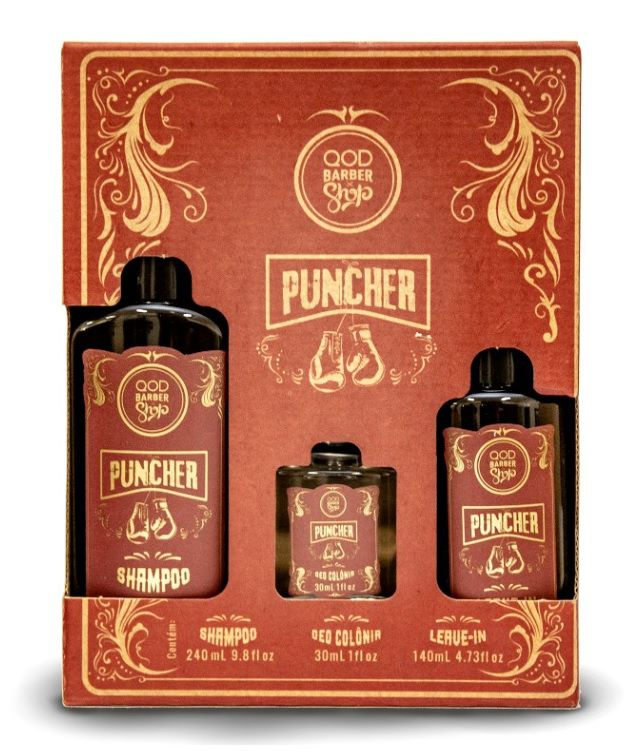 Kit Puncher QOD - Shampoo 240 mL + Leave in 140 mL + Mini deo Colônia 30 mL