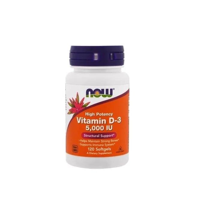 Vitamina D3 5000 IU (125mcg) - Now Foods - 120 Softgels