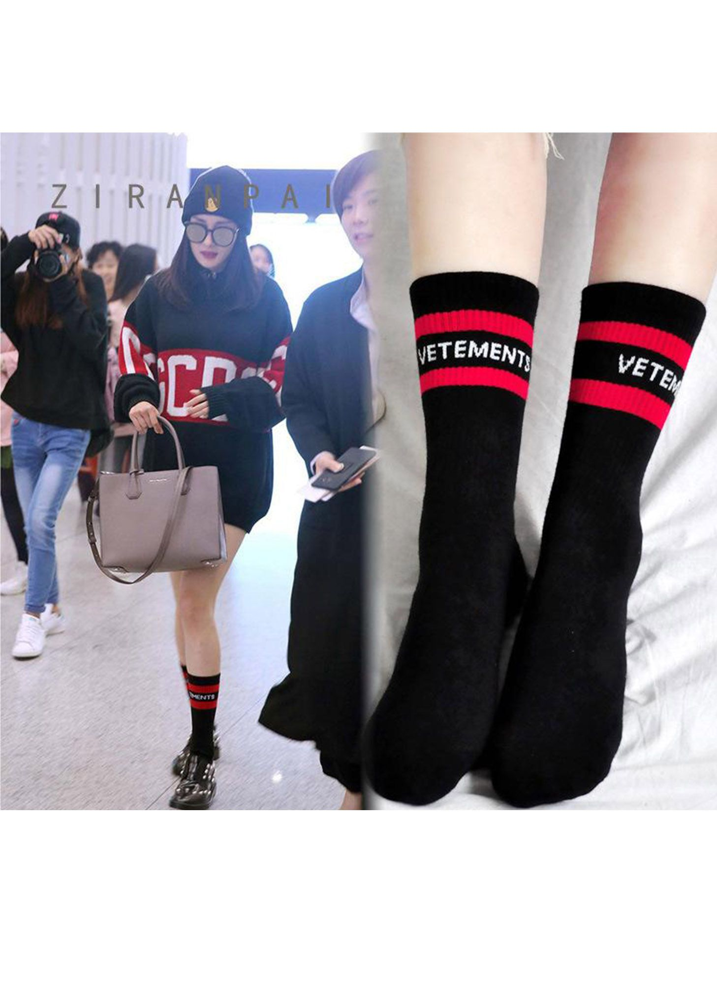 MEIAS VETEMENTS BLACK & RED