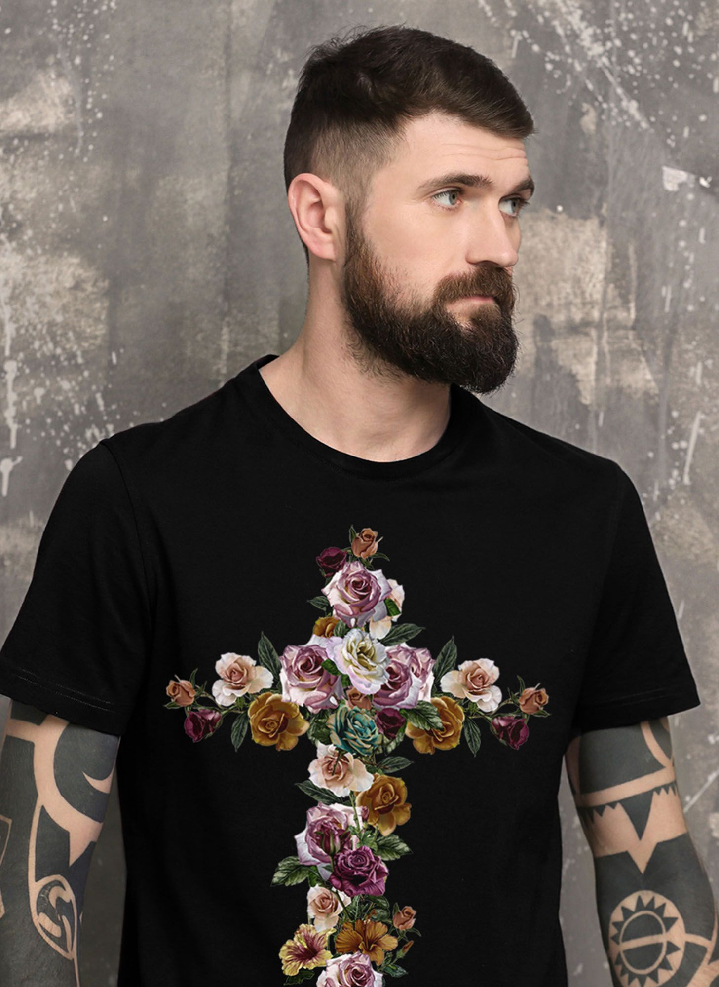 T-SHIRT CROSS AND FLOWERS
