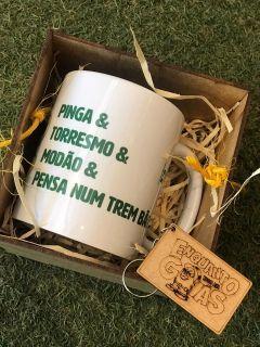 Kit Caneca Pinga & Torresmo + Caixa mdf