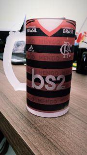 Caneca de Chopp Vidro Jateada 475ml - Flamengo