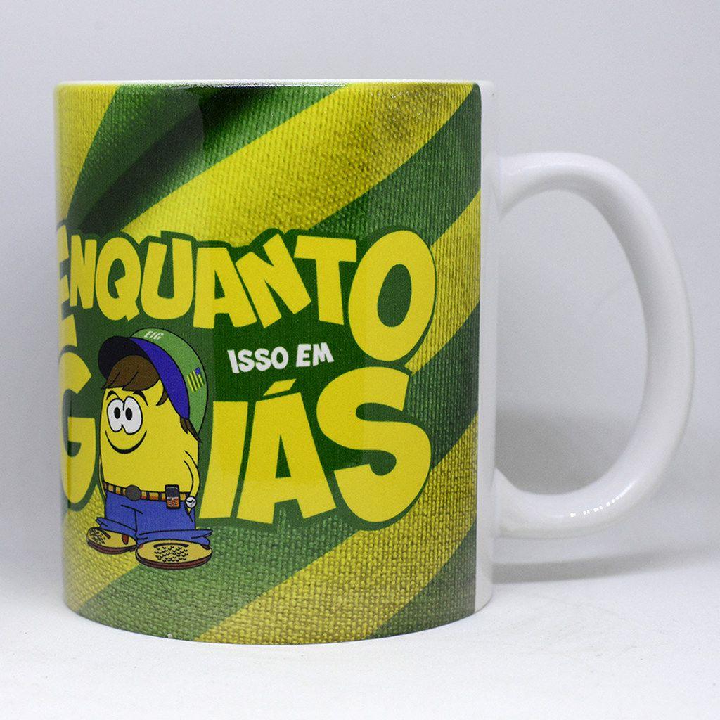 Caneca Bandeira do Estado de Goiás e Brasil - logo