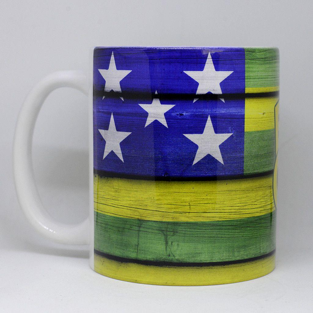 Caneca Bandeira do Estado de Goiás - madeira