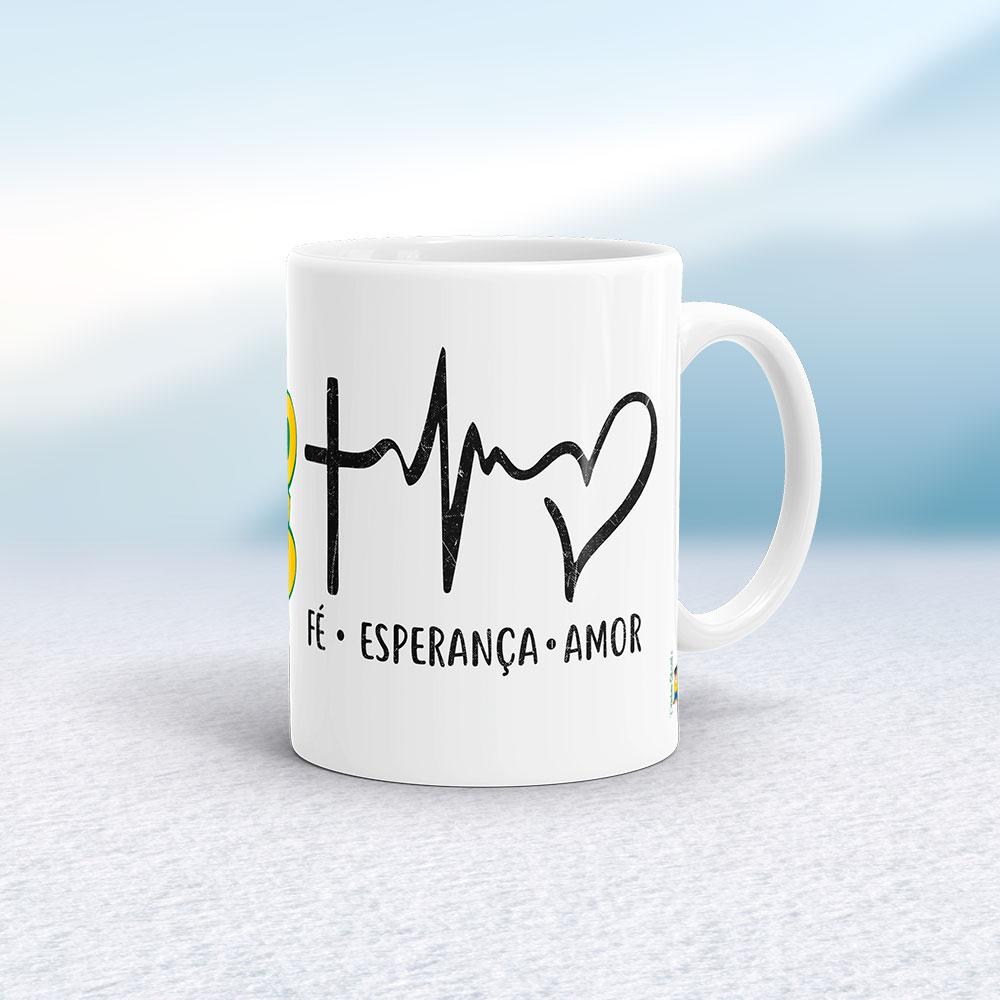 """Caneca """"Fé, esperança, amor"""" 325ml"""
