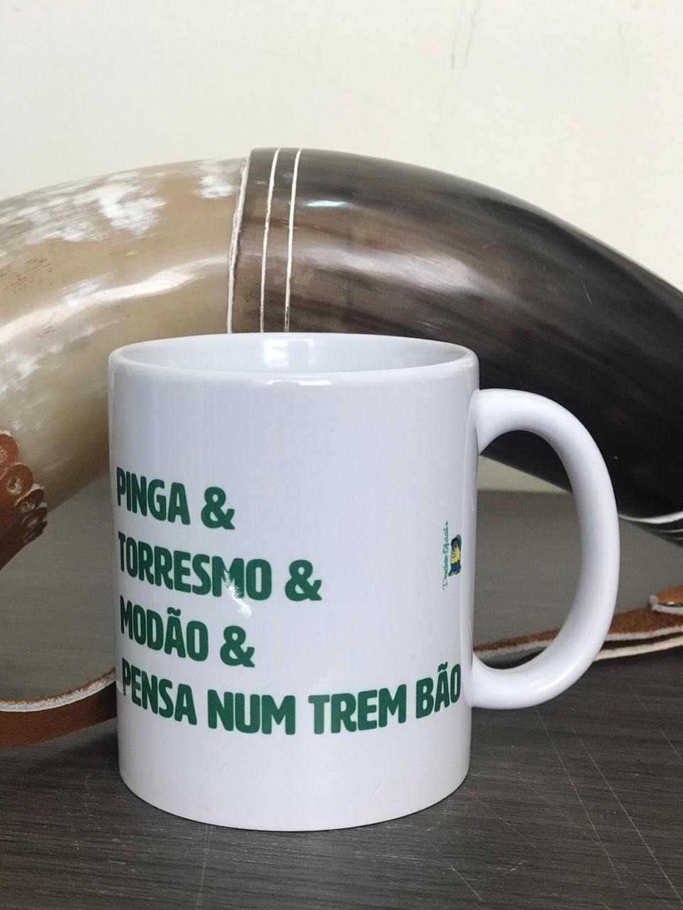 """Caneca """"Pinga, Torresmo e Modão"""" - Porcelana 325ml"""