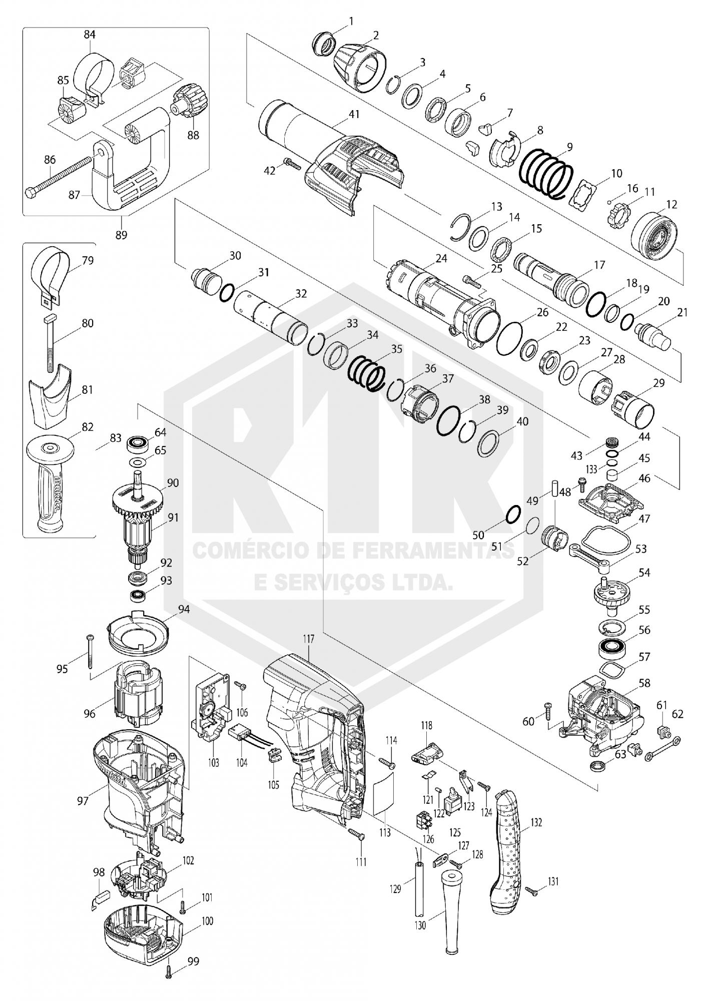 PEÇAS DE REPOSICAO - MARTELO ROMPEDOR SDS-MAX MAKITA HM0870C-220V  - RTR