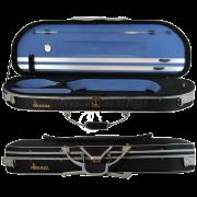 Estojo meia lua térmico luxo com bolso largo para violino na cor preta (exterior) e azul (interior)