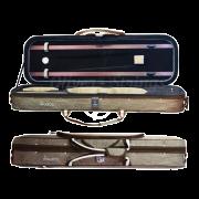 Estojo retangular térmico luxo com bolso externo largo para violino bege (exterior) e marrom (interior)