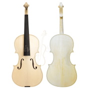 Violino Artesanal com Fundo Bipartido Branco Inacabado 4/4