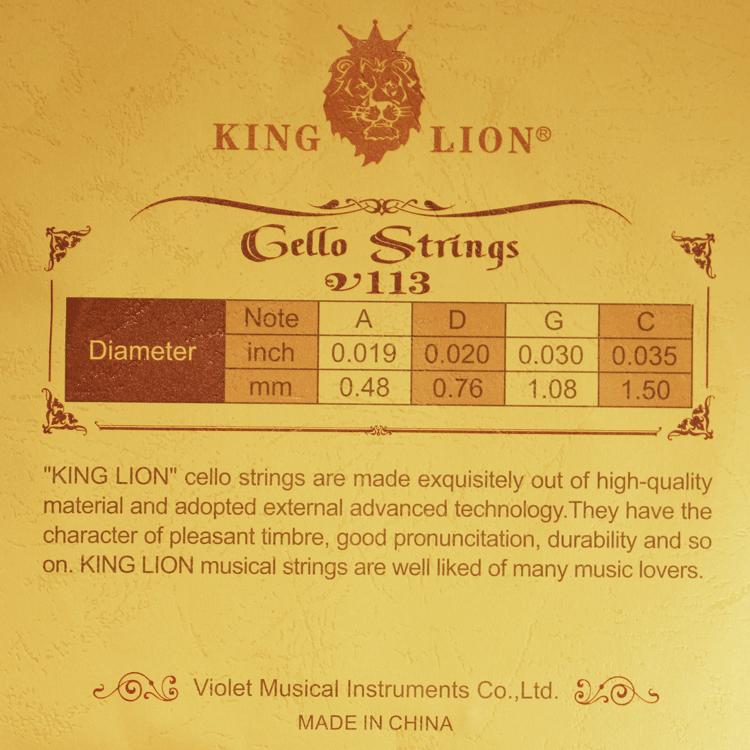 Encordoamento King Lion para Violoncelo Cello 4/4