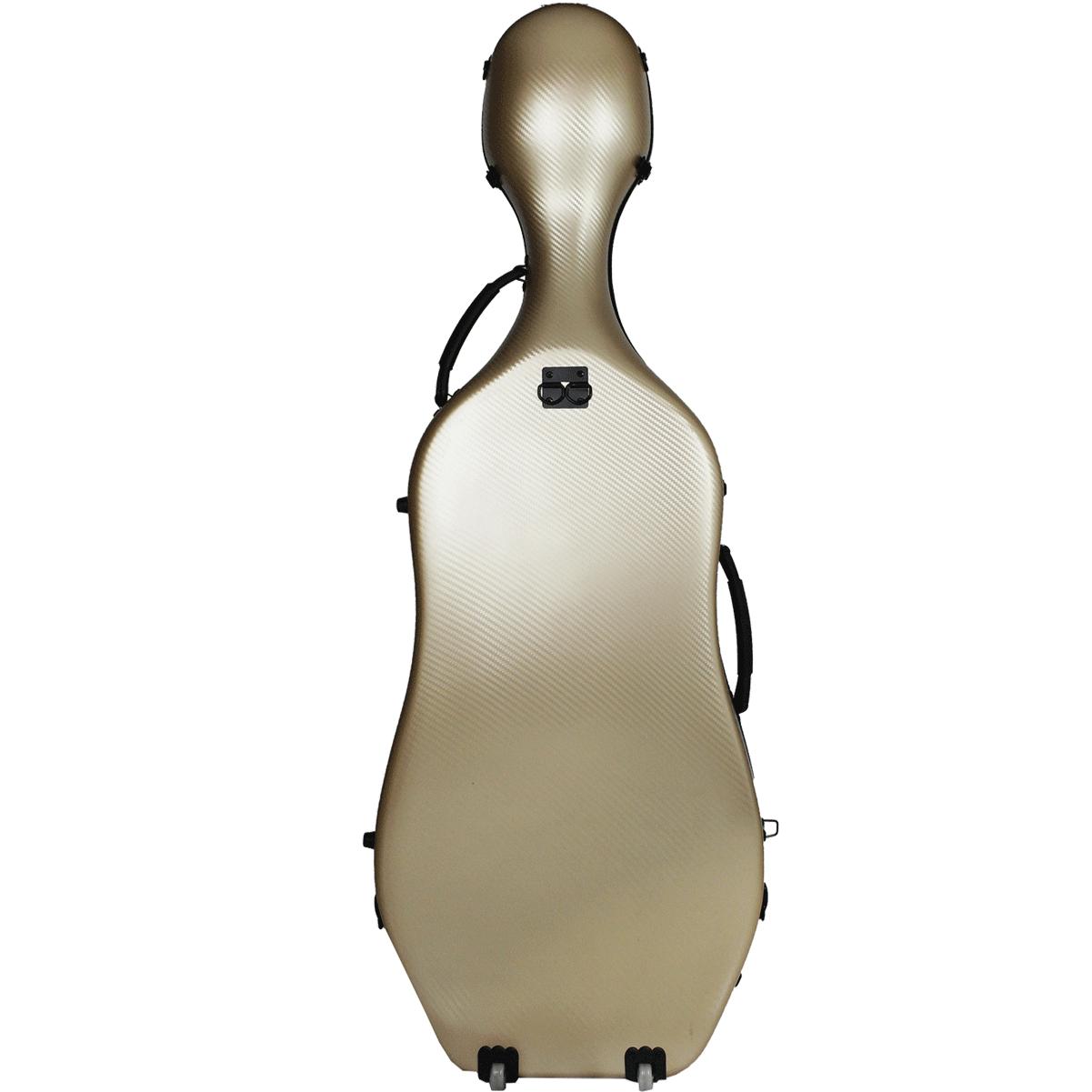 Estojo Case Fibra de vidro Cello Violoncelo 4/4 Orquezz Luxo Dourado carbono