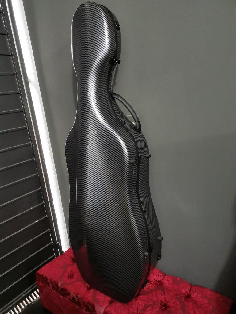 Estojo Case Fibra de vidro Cello Violoncelo 4/4 Orquezz Luxo Preto Carbono