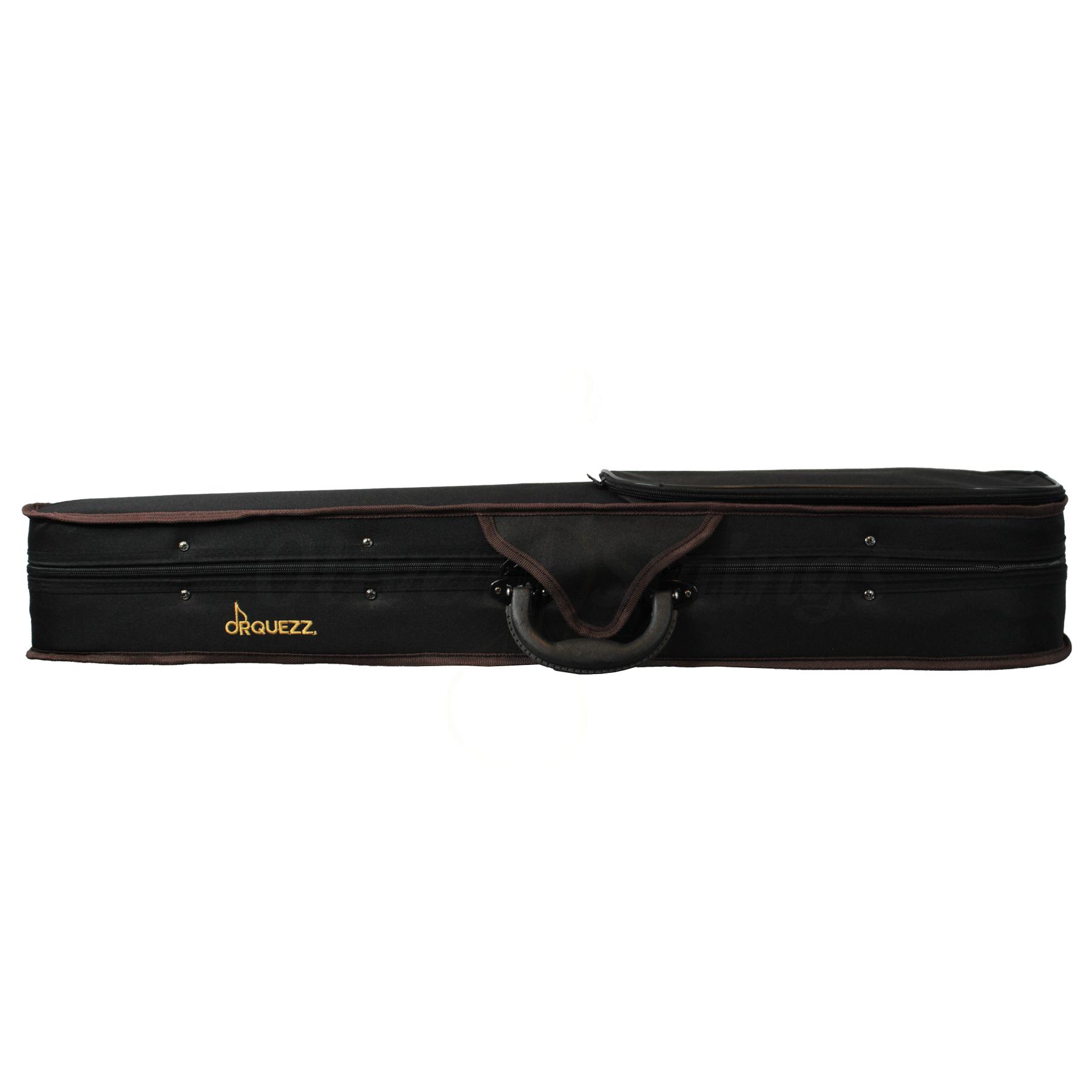 Estojo gota para violino na cor marrom com detalhes marrom (exterior) e vinho (interior)
