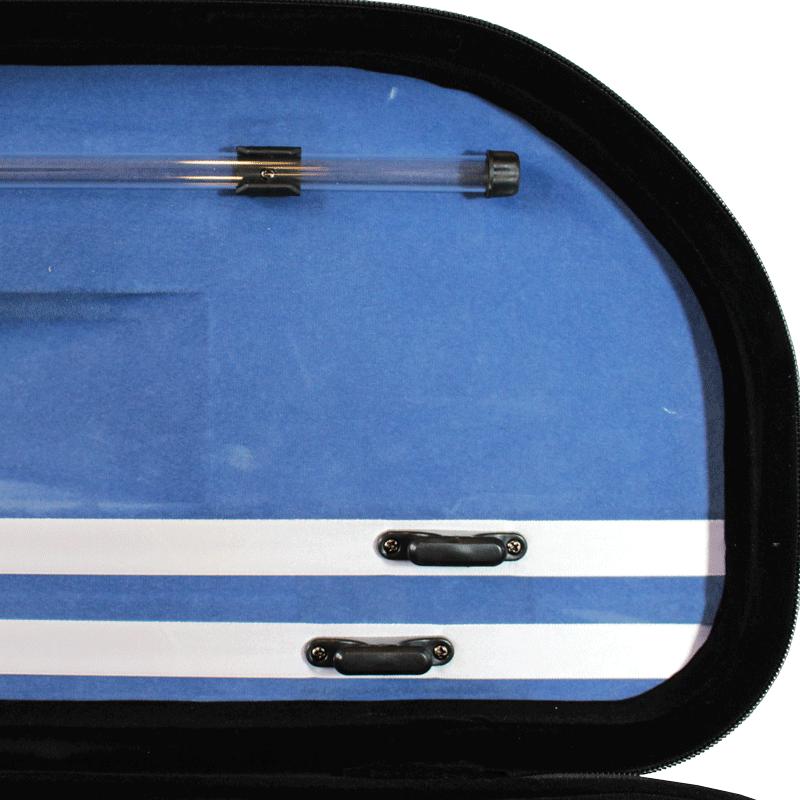 Estojo meia lua térmico luxo com bolso largo para violino na cor cinza (exterior) e azul (interior)