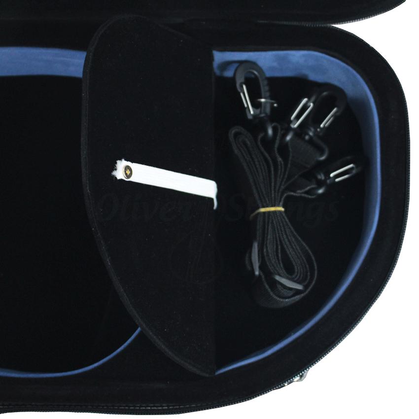 Estojo meia lua térmico luxo preto e azul violino 4/4