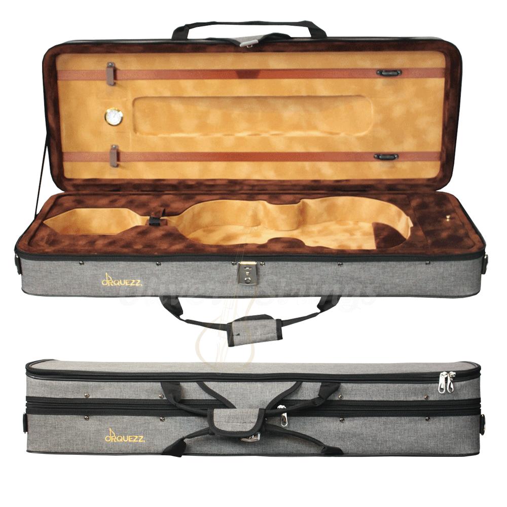 Estojo retangular térmico luxo para viola na cor cinza (exterior) e marrom claro (interior)