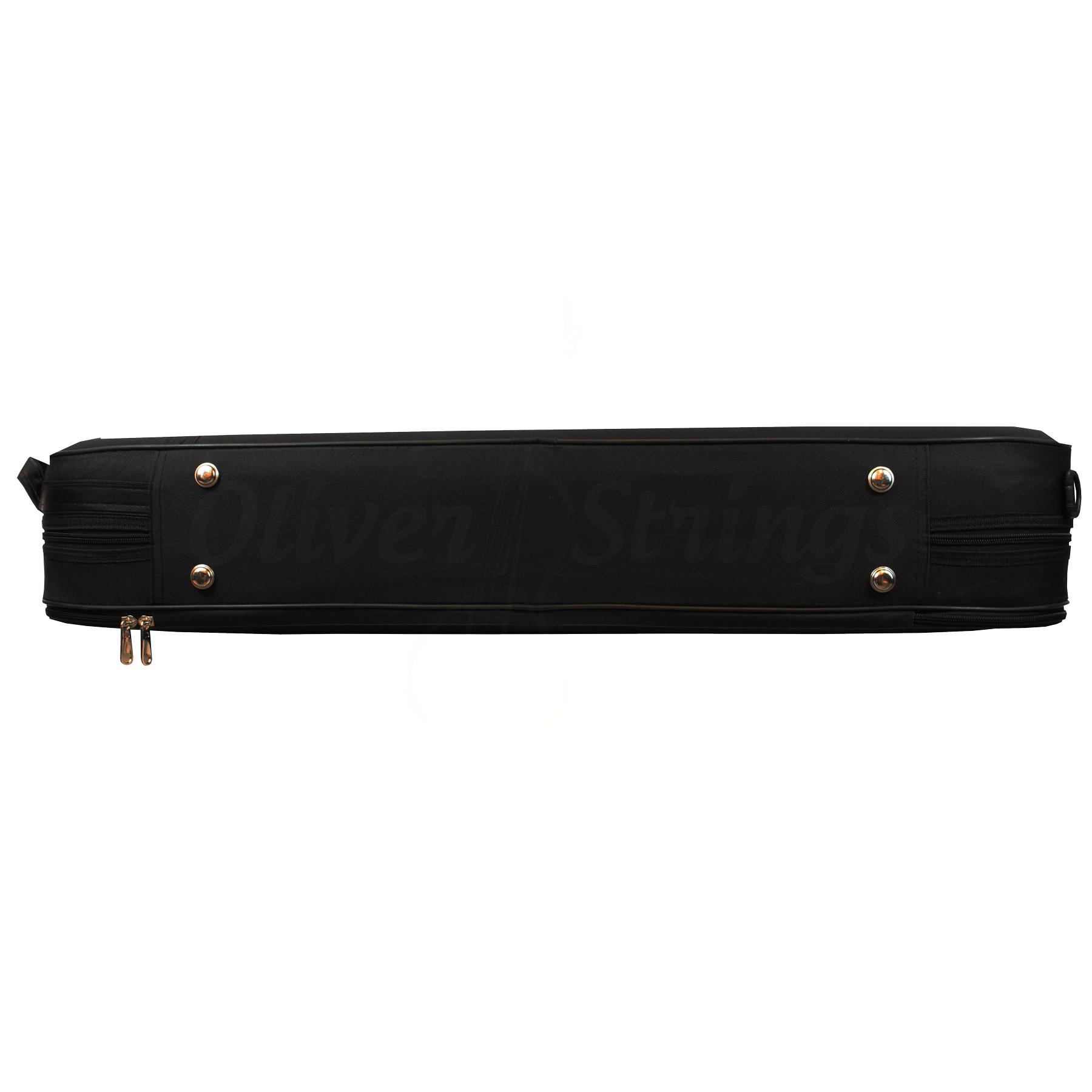 Estojo retangular térmico luxo para viola na cor preta (exterior) e bege (interior)