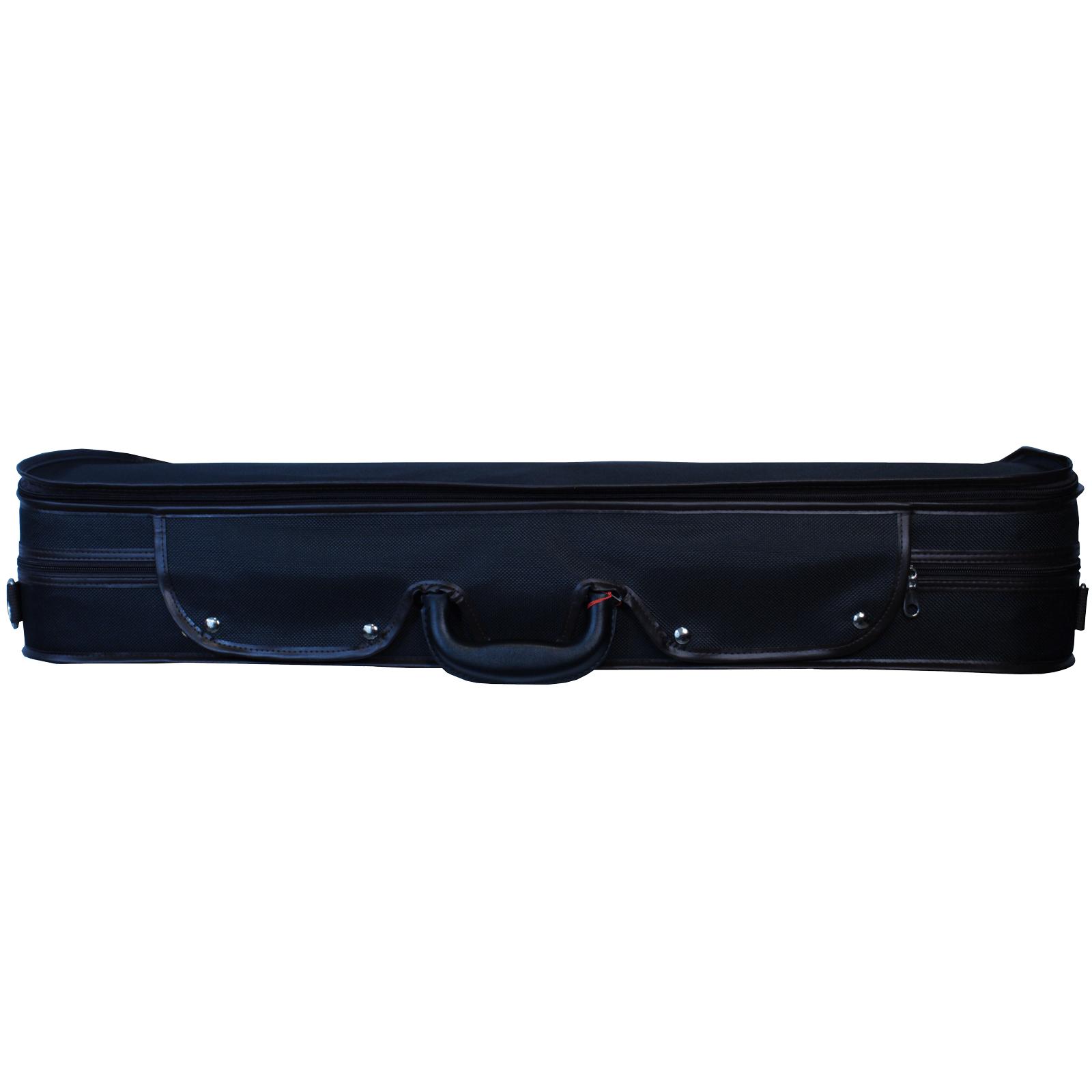 Estojo retangular térmico luxo preto para violino (exterior) e marrom com café (interior)